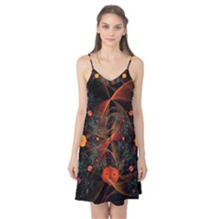 Fractal Wallpaper With Dancing Planets On Black Background Camis Nightgown