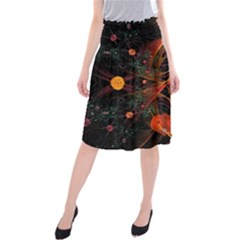 Fractal Wallpaper With Dancing Planets On Black Background Midi Beach Skirt