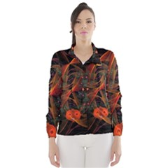Fractal Wallpaper With Dancing Planets On Black Background Wind Breaker (Women)