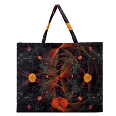 Fractal Wallpaper With Dancing Planets On Black Background Zipper Large Tote Bag