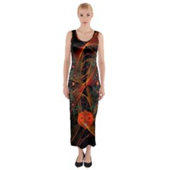 Fractal Wallpaper With Dancing Planets On Black Background Fitted Maxi Dress