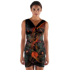 Fractal Wallpaper With Dancing Planets On Black Background Wrap Front Bodycon Dress