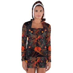 Fractal Wallpaper With Dancing Planets On Black Background Women s Long Sleeve Hooded T-shirt