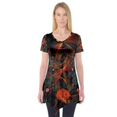 Fractal Wallpaper With Dancing Planets On Black Background Short Sleeve Tunic