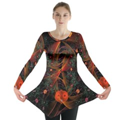 Fractal Wallpaper With Dancing Planets On Black Background Long Sleeve Tunic