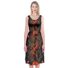 Fractal Wallpaper With Dancing Planets On Black Background Midi Sleeveless Dress