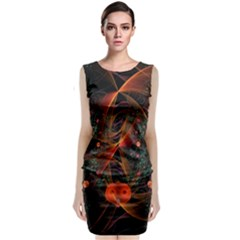 Fractal Wallpaper With Dancing Planets On Black Background Classic Sleeveless Midi Dress