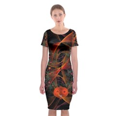 Fractal Wallpaper With Dancing Planets On Black Background Classic Short Sleeve Midi Dress