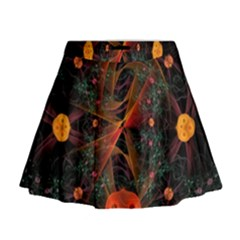 Fractal Wallpaper With Dancing Planets On Black Background Mini Flare Skirt