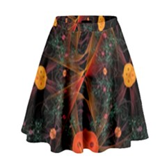 Fractal Wallpaper With Dancing Planets On Black Background High Waist Skirt