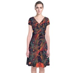 Fractal Wallpaper With Dancing Planets On Black Background Short Sleeve Front Wrap Dress