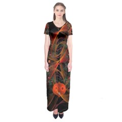 Fractal Wallpaper With Dancing Planets On Black Background Short Sleeve Maxi Dress