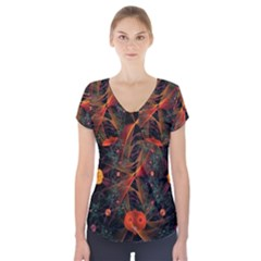 Fractal Wallpaper With Dancing Planets On Black Background Short Sleeve Front Detail Top