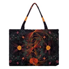 Fractal Wallpaper With Dancing Planets On Black Background Medium Tote Bag