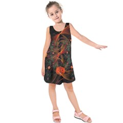Fractal Wallpaper With Dancing Planets On Black Background Kids  Sleeveless Dress