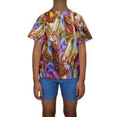 3 Carousel Ride Horses Kids  Short Sleeve Swimwear