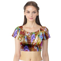 3 Carousel Ride Horses Short Sleeve Crop Top (Tight Fit)