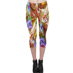 3 Carousel Ride Horses Capri Leggings