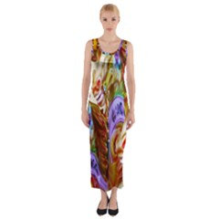 3 Carousel Ride Horses Fitted Maxi Dress