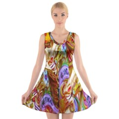 3 Carousel Ride Horses V Neck Sleeveless Skater Dress