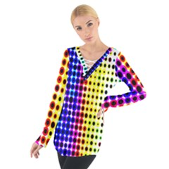 A Creative Colorful Background Women s Tie Up Tee