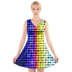 A Creative Colorful Background V Neck Sleeveless Skater Dress