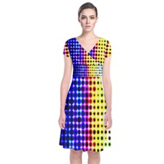 A Creative Colorful Background Short Sleeve Front Wrap Dress