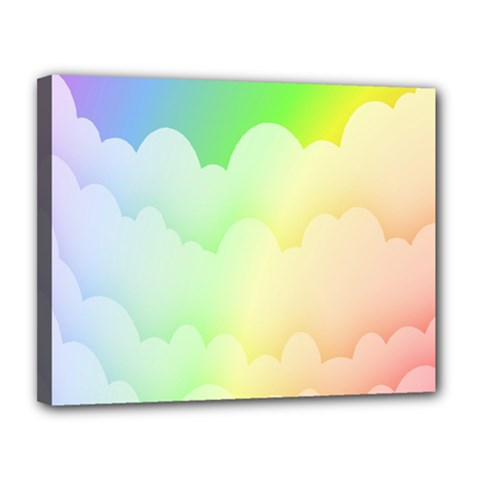 Cloud Blue Sky Rainbow Pink Yellow Green Red White Wave Canvas 14  x 11