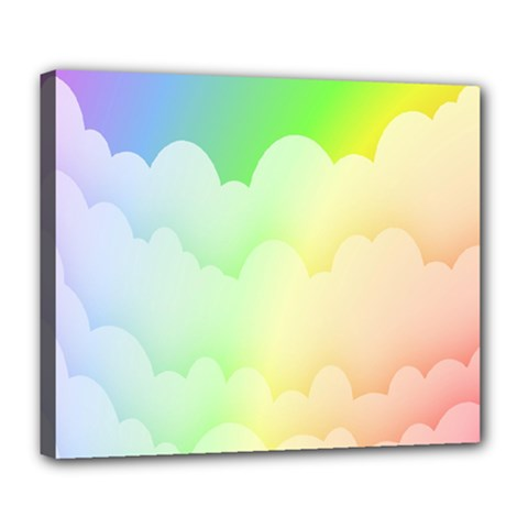 Cloud Blue Sky Rainbow Pink Yellow Green Red White Wave Deluxe Canvas 24  x 20
