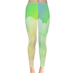 Cloud Blue Sky Rainbow Pink Yellow Green Red White Wave Leggings