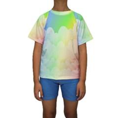 Cloud Blue Sky Rainbow Pink Yellow Green Red White Wave Kids  Short Sleeve Swimwear