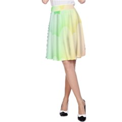 Cloud Blue Sky Rainbow Pink Yellow Green Red White Wave A-Line Skirt