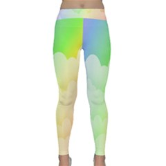 Cloud Blue Sky Rainbow Pink Yellow Green Red White Wave Classic Yoga Leggings
