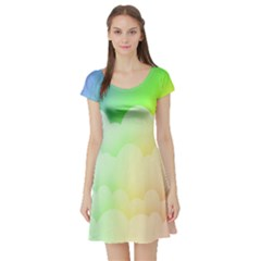 Cloud Blue Sky Rainbow Pink Yellow Green Red White Wave Short Sleeve Skater Dress