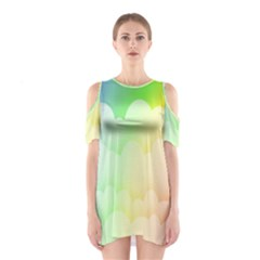 Cloud Blue Sky Rainbow Pink Yellow Green Red White Wave Shoulder Cutout One Piece