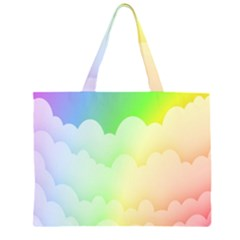 Cloud Blue Sky Rainbow Pink Yellow Green Red White Wave Large Tote Bag