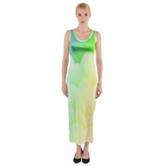 Cloud Blue Sky Rainbow Pink Yellow Green Red White Wave Fitted Maxi Dress