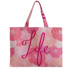 Life Typogrphic Zipper Mini Tote Bag