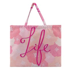 Life Typogrphic Zipper Large Tote Bag