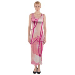Life Typogrphic Fitted Maxi Dress