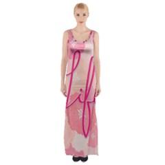 Life Typogrphic Maxi Thigh Split Dress