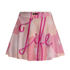 Life Typogrphic Mini Flare Skirt