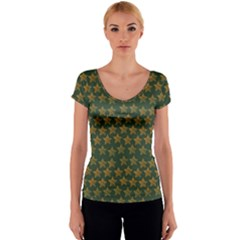 Stars Pattern Background Women s V-Neck Cap Sleeve Top