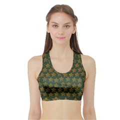 Stars Pattern Background Sports Bra with Border