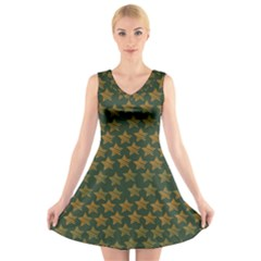 Stars Pattern Background V Neck Sleeveless Skater Dress