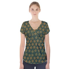 Stars Pattern Background Short Sleeve Front Detail Top