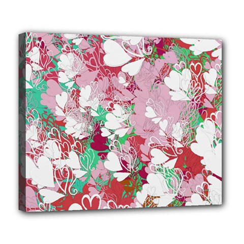 Confetti Hearts Digital Love Heart Background Pattern Deluxe Canvas 24  x 20
