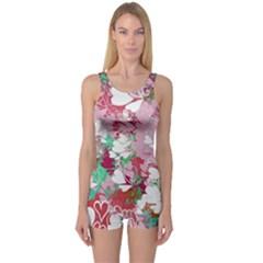 Confetti Hearts Digital Love Heart Background Pattern One Piece Boyleg Swimsuit