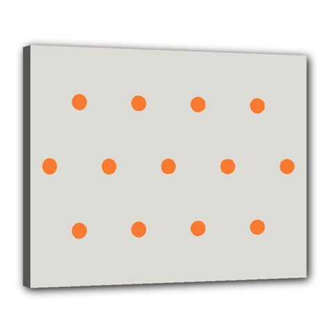 Diamond Polka Dot Grey Orange Circle Spot Canvas 20  x 16