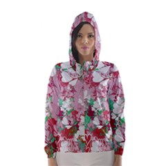 Confetti Hearts Digital Love Heart Background Pattern Hooded Wind Breaker (women)